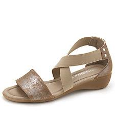 159081 - Easy'n Rose Elasticated Cross Strap Sandal with Mini Wedge Heel