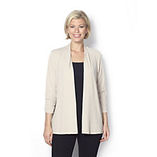 160181 - Open Front 3/4 Sleeve Cardigan by Susan Graver