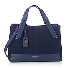 Tignanello Waterproof Suede and Leather Satchel Bag with RFID Protection