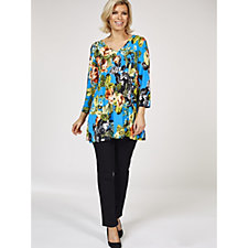 Attitudes By Renee V Neck Printed Tunic with Pockets