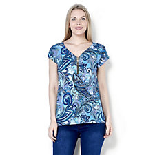 Coco Bianco Zip Front Printed Top with Dip Back Hem