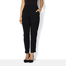 Yong Kim Stretch Crepe Tapered Trouser Elastic Waist