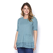 Logo by Lori Goldstein French Terry Lounge Top with Woven Ruffles