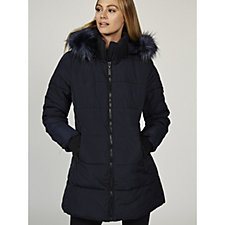 Centigrade Faux Down Coloured Faux Fur Quilted Coat