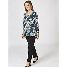 Kim & Co Floral Etching Brazil Knit Long Sleeve Swing Tunic