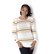 Marble Stripe Jumper with Button Tab