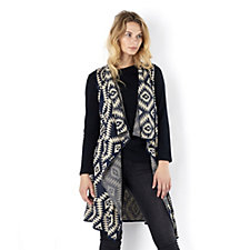 Absolutely Famous Shawl Collar Aztec Jacquard Sleeveless Cardigan