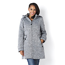 Centigrade Knit Coat with Quilted Polyfill Lining & Detachable Hood
