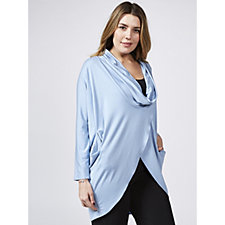 Yong Kim Modal Long Sleeve Drape Neck Top with Pockets