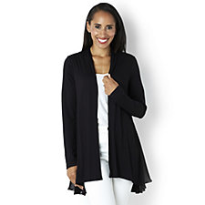 158682 - LOGO by Lori Goldstein Open Front Cardigan with Chiffon Detail