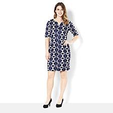 Tiana B Geometric Print Shift Dress with Sweetheart Neckline