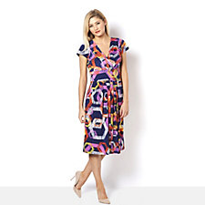 Graphic Print Dress with Gathered Waist by Onjenu London