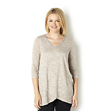 Together Double Layer Melange Knit Tunic with Stud Detail