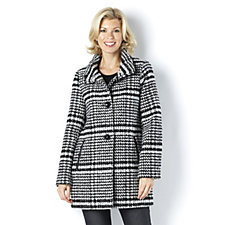 Centigrade Herringbone Check Button Front Coat