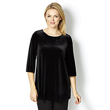Kim & Co Velvet Round Neck 3/4 Sleeve Swing Tunic