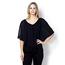 Coco Bianco Jersey Poncho Style Top with Chiffon Overlay
