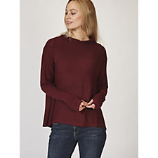 Anybody Ribbed Brushed Hacci Mock Neck Top