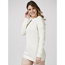 Knitted Tunic w/ Dropped Shoulder & Laced Chiffon Sleeve Detail by Nina Leonard