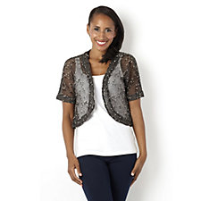 155383 - Short Sleeve Crochet Bolero by Nina Leonard