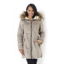 Centigrade Faux Shearling Zip Coat with Faux Fur Trim Hood