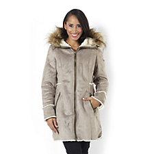Centigrade Faux Shearling Zip Coat with Faux Fur Trim Hood