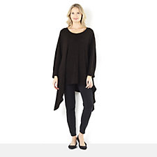 Join Clothes Boucle Knit Scoop Neck Sharkbite Hem Tunic