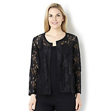 Rose Lace  Dip Back Hem Shrug by Michele Hope