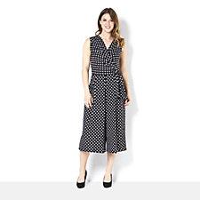Tiana B Sleeveless Polka Dot Print Gaucho Jumpsuit
