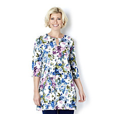 Kim & Co Soft Floral Venechia 3/4 Sleeve Kaftan Tunic Dress