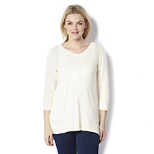 H by Halston 3/4 Sleeve Jumper with Placed Stitch Detail