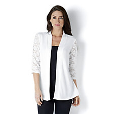 Denim & Co. 3/4 Lace Sleeve Cardigan with Peplum Back