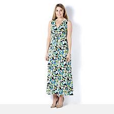 Kim & Co Brazil Knit Leaf Overlay Twist Front Maxi Dress