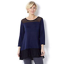 Grace Mesh Detail Tunic with Front Raised Hem