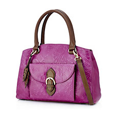 Tignanello Loredo Vintage Embossed Leather Satchel Bag with RFID Protection