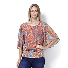 Coco Bianco Printed Cold Shoulder Top with Banded Hem