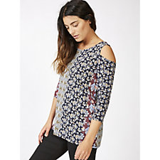 Fashion by Together Cold Shoulder Printed Top