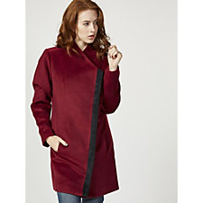 H by Halston Long Sleeve Coat with Contrast Trim