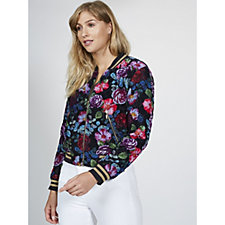 Derhy Resort Velvet Floral Print Bomber Jacket