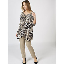Kim & Co Mod Animal Brushed Venechia 3/4 Sleeve V Neck Tunic