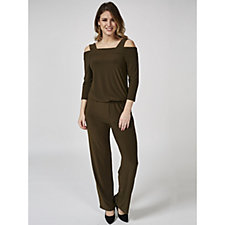 Cold Shoulder 3/4 Sleeve Wide Leg Jumpsuit by Nina Leonard