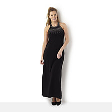 Halter Neck Maxi Dress with Studded Neckline by Nina Leonard