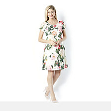 Ronni Nicole Cap Sleeve Lace Rose Print Fit & Flare Dress