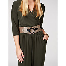 Kim & Co Elastic Belt with Mock Snake Skin & Gunmetal Buckle