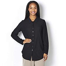 Kim & Co Pebble Crepe Long Sleeve Button Shirt w/ Back Pleat
