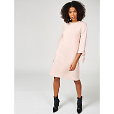 Ronni Nicole 3/4 Sleeve A Line Midi Dress w/ Tie Sleeves