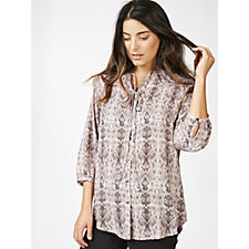 Fashion by Together Neck Tie Snake Print Blouse