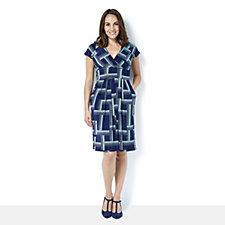 Blair Short Sleeve Linear Print Dress by Onjenu London