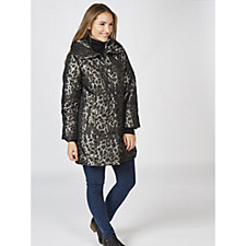 168484 - Dennis Basso Printed Water Resistant Quilted Coat
