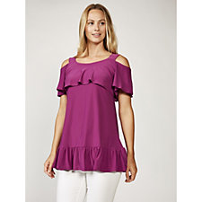 Grace Cold Shoulder Top with Frill Hemline & Angel Sleeves