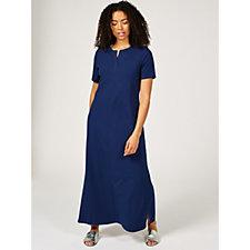 Denim & Co. Split V Neck Short Sleeve Maxi Dress with Side Slits